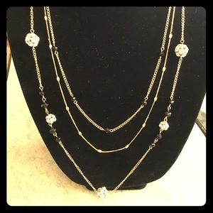 Charming Charlie Layered Necklace- Gold/Black